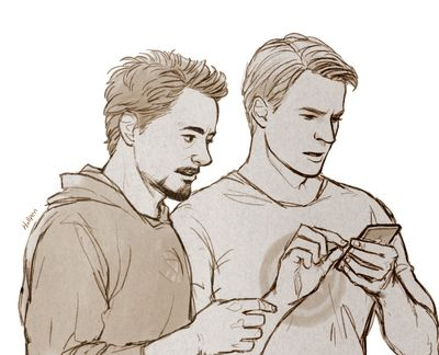 Steve and Tony by Hallpen (hallpen.deviantart.com)