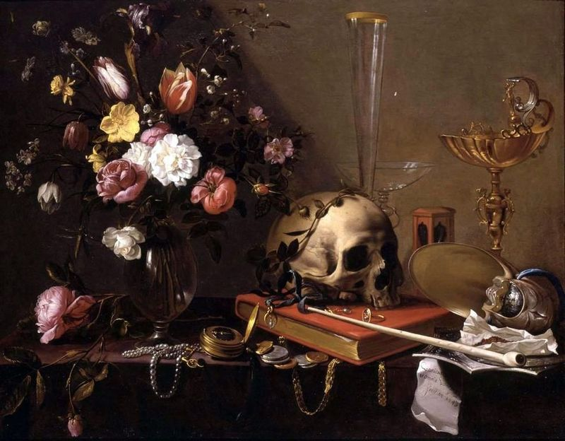 Vanitas - Still Life with Bouquet and Skull